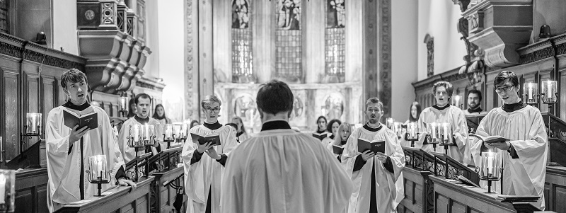 Choir in chapel black and white