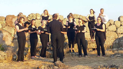 Performing at an archaeological site in Sardinia